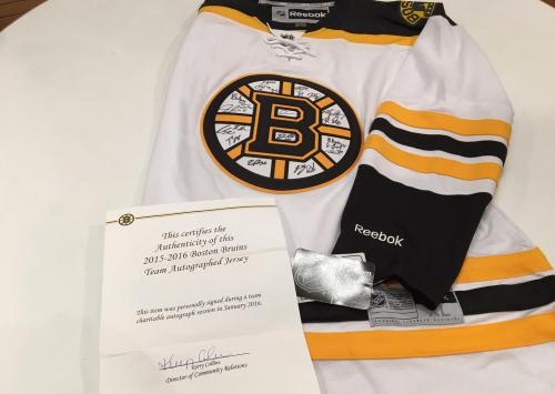 The Boston Bruins Jersey Autographed by 2015-2016 Team