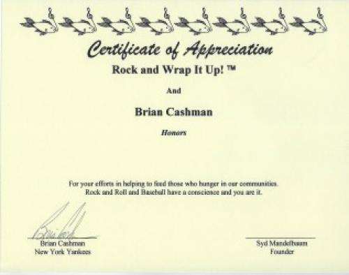 The New York Yankees Brian Cashman Signed Certificate