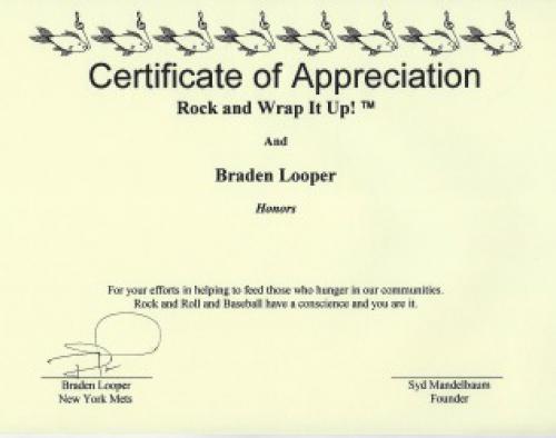 The New York Mets Braden Looper Signed Certificate