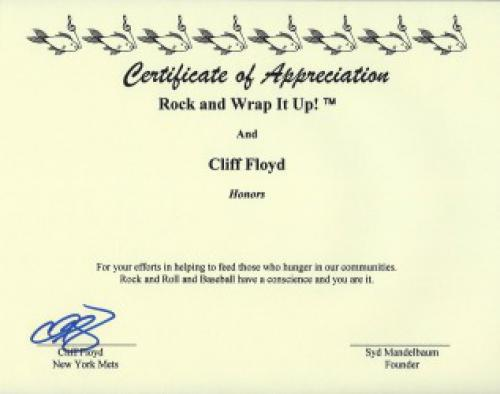 The New York Mets Cliff Floyd Signed Certificate