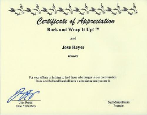 The New York Mets Jose Reyes Signed Certificate