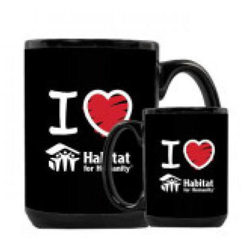 Black Mug 15oz 'I Love Habitat for Humanity
